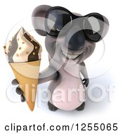 Clipart Of A 3d Koala Wearing Sunglasses And Holding Up An Ice Cream Cone Royalty Free Illustration