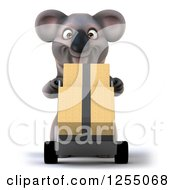 Clipart Of A 3d Koala Pushing Boxes On A Dolly Royalty Free Illustration