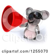 Clipart Of A 3d Koala Wearing Sunglasses And Using A Megaphone Royalty Free Illustration