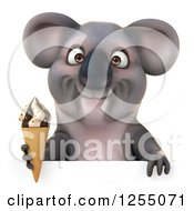 Clipart Of A 3d Koala Holding An Ice Cream Cone Over A Sign Royalty Free Illustration