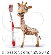 Clipart Of A 3d Happy Giraffe With A Toothbrush Royalty Free Illustration
