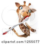 Clipart Of A 3d Happy Giraffe With A Toothbrush Around A Sign Royalty Free Illustration