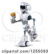 Clipart Of A 3d White And Blue Robot Walking With French Fries Royalty Free Illustration