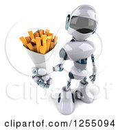 Clipart Of A 3d White And Blue Robot Holding French Fries Royalty Free Illustration