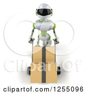 Clipart Of A 3d White And Green Robot Moving Boxes On A Dolly Royalty Free Illustration