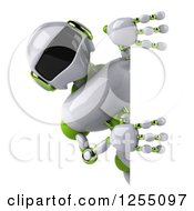 Clipart Of A 3d White And Green Robot Looking Around A Sign Royalty Free Illustration