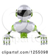 Clipart Of A 3d White And Green Robot Over A Sign Royalty Free Illustration