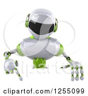 Clipart Of A 3d White And Green Robot Pointing Down Over A Sign Royalty Free Illustration