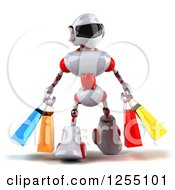 Clipart Of A 3d White And Red Robot Carrying Shopping Bags Royalty Free Illustration