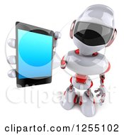 Clipart Of A 3d White And Green Robot Holding Out A Smart Phone Royalty Free Illustration