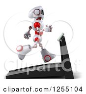 Clipart Of A 3d White And Red Robot Running On A Treadmill Royalty Free Illustration