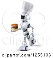 Clipart Of A 3d White And Blue Chef Robot Walking With A Double Cheeseburger Royalty Free Illustration
