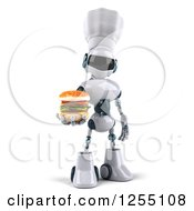 Clipart Of A 3d White And Blue Chef Robot Holding A Double Cheeseburger Royalty Free Illustration