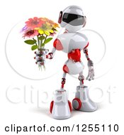 Clipart Of A 3d White And Red Robot Holding Up A Flower Bouquet Royalty Free Illustration