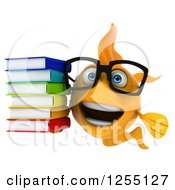 Clipart Of A 3d Bespectacled Goldfish Holding A A Stack Of Books Royalty Free Illustration