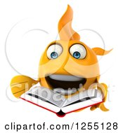 Clipart Of A 3d Goldfish Reading A Book Royalty Free Illustration