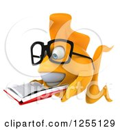 Clipart Of A 3d Bespectacled Goldfish Reading A Book Royalty Free Illustration