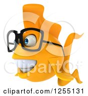 Clipart Of A 3d Bespectacled Goldfish Royalty Free Illustration