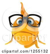 Clipart Of A 3d Sad Bespectacled Goldfish Royalty Free Illustration