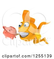 Clipart Of A 3d Goldfish Holding A Piggy Bank Royalty Free Illustration