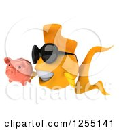 Clipart Of A 3d Goldfish Wearing Sunglasses And Holding A Piggy Bank Royalty Free Illustration