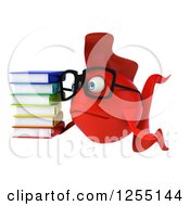 Clipart Of A 3d Sad Bespectacled Red Fish Holding A Stack Of Books Royalty Free Illustration