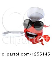 Clipart Of A 3d Red Chef Fish Wearing Sunglasses And Holding A Plate Royalty Free Illustration