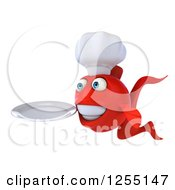 3d Red Chef Fish Holding A Plate