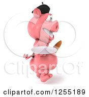 Clipart Of A 3d French Pig Walking With A Plate And Bread Royalty Free Illustration