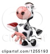 Clipart Of A 3d Cow Walking With A Beef Steak Royalty Free Illustration