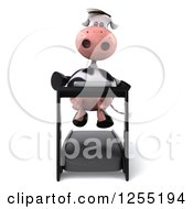 Clipart Of A 3d Cow Running On A Treadmill Royalty Free Illustration