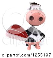Clipart Of A 3d Cow Holding Up A Beef Steak Royalty Free Illustration by Julos