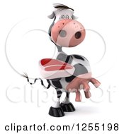Clipart Of A 3d Cow Holding A Beef Steak Royalty Free Illustration
