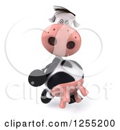 Clipart Of A 3d Cow Walking Royalty Free Illustration