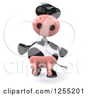 Clipart Of A 3d Cow Walking In Sunglasses Royalty Free Illustration
