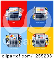 Clipart Of Laptop Social Media Business And Seo Icons Royalty Free Vector Illustration by elena