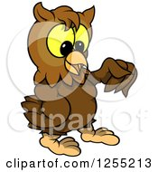 Clipart Of A Brown Owl Holding Out A Fist Royalty Free Vector Illustration by dero