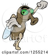 Clipart Of A Fly Taking Off Royalty Free Vector Illustration
