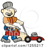 Clipart Of A Male Caucasian Handyman With A Tool Box And Lawn Mower Royalty Free Vector Illustration by Andy Nortnik