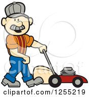 Male Caucasian Handyman With A Lawn Mower
