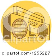 Retro Boom Box Radio On A Yellow Circle