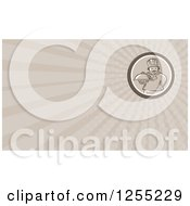 Clipart Of A Retro Woodcut Chef Holding A Platter Business Card Design Royalty Free Illustration