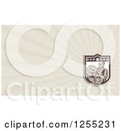 Clipart Of A Retro Woodcut Farmer Business Card Design Royalty Free Illustration