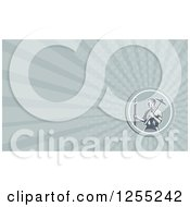 Clipart Of A Retro Woodcut Architect Business Card Design Royalty Free Illustration by patrimonio