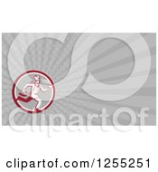 Clipart Of A Fast Chef Running Retro Business Card Design Royalty Free Illustration