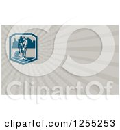 Clipart Of A Retro Janitor Vacumming Business Card Design Royalty Free Illustration by patrimonio