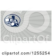 Clipart Of A Retro Computer Repair Main Business Card Design Royalty Free Illustration