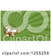 Clipart Of A Retro Director Using A Bullhorn Business Card Design Royalty Free Illustration by patrimonio