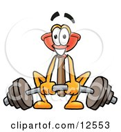 Sink Plunger Mascot Cartoon Character Lifting A Heavy Barbell by Toons4Biz