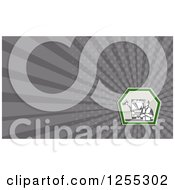 Clipart Of A Retro Garbage Man Business Card Design Royalty Free Illustration by patrimonio